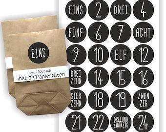 Advent Calendar Stickers + 24 Bags   Christmas   Sticker   Black