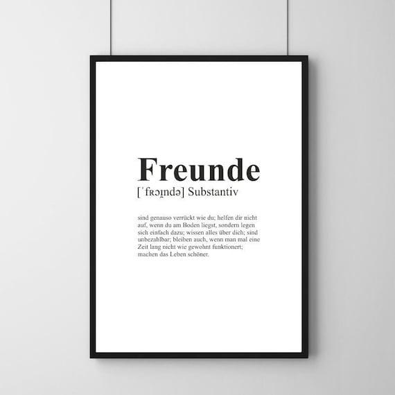 Poster Definition Freunde Freundschaft minimalistisch   Etsy