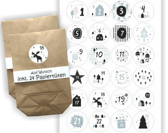 Advent Calendar Stickers + 24 Bags | Christmas | Sticker | black and white motifs