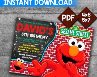 Elmo Invitation Birthday Sesame Street Editable Instant Download PDF