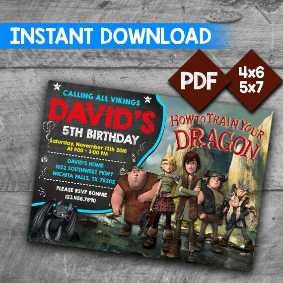 How To Train Your Dragon Invitation How To Train Your Dragon Etsy