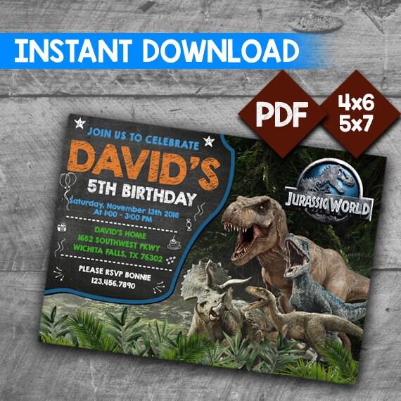 Jurassic World Invitation Birthday