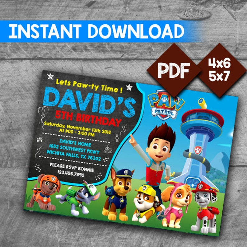 image regarding Printable Paw Patrol Invitations named Paw Patrol Invitation, Paw Patrol Invite, Paw Patrol Birthday, Paw Patrol Get together, Paw Patrol Printable, Paw Patrol Card, Electronic Invitation