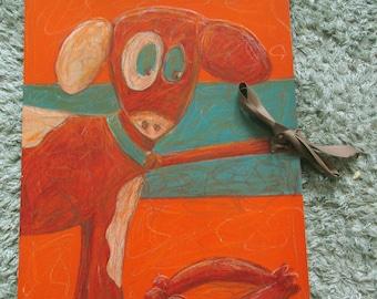 Collectible folder A3 Dog Orange / Blue