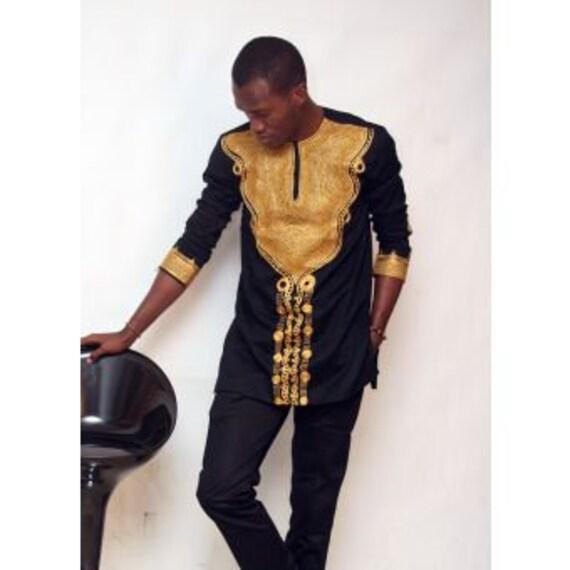Costume noir et or mi longueur manches broderie Dashiki, vêtements pour hommes africains, Bespoke dashiki hommes, dashiki bal.
