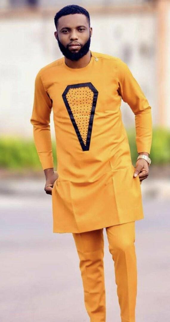 Bespoke men/'s dashiki African men/'s clothing prom dashiki. Orange Dashiki Suit