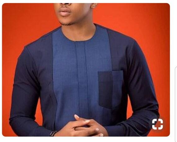 Belle africaine vêtements pour hommes, bleu et gris broderie africaine Dashiki conviennent, dashiki de bal sur mesure hommes dashiki, costume de mariage africain