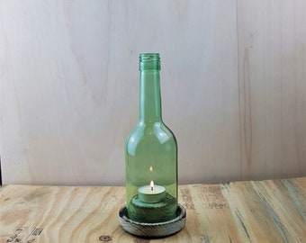 Wein Windlicht # 1 Rustikal kurze Flasche gr/ün
