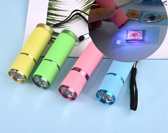 4 Color UV Flashlight, 9 Led Ultra Violet Torch Light Lamp, For Epoxy UV Resin, Cure Adhesive Glue Resin, Jewelry Making Tools