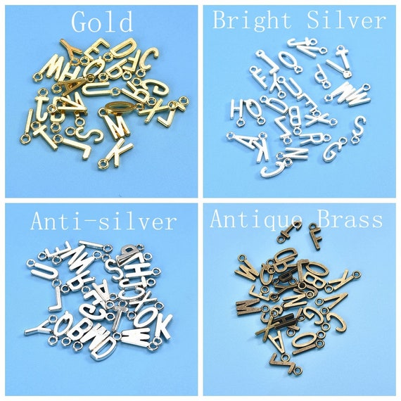 26Pcs Vintage Bronze Alphabet Letter Initial Charms for Bracelets Jewellery