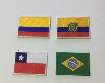 Superb National Country Colombia Ecuador Chile Brazil Patch Flag Patch Applique  Embroidered Iron On Patch