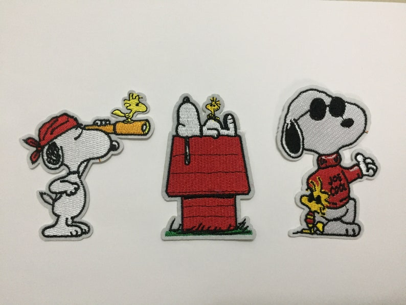 Snoopy woodstock peanuts patch cartoon patches funny etsy