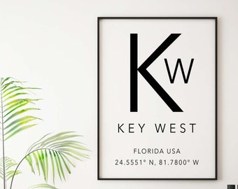 Key West Print Key West poster Florida print Latitude Longitude art, Key West coordinates