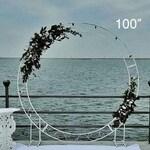 Circle wedding arch 100″, Round wedding arch, Wedding arch metal frame, Metal arch, Moon gate arch, Ceremony arch, Floral arch Wedding decor