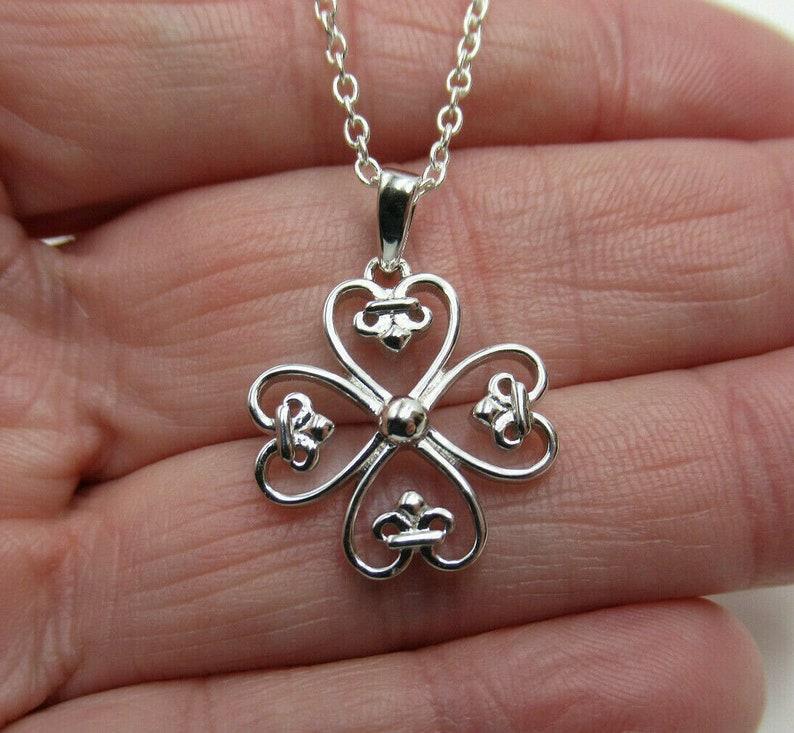 Patricks Day Necklace Your Choice Length Fleur de Lis Heart Shape Leaves Lucky Shamrock St 4 Leaf Clover Pendant 925 Sterling Silver