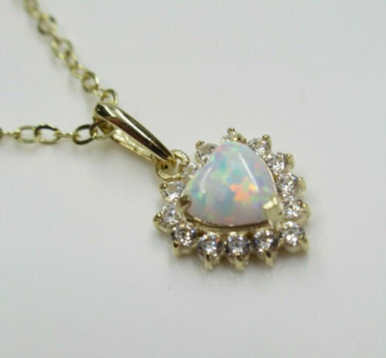 Wedding Bridal Anniversary Gift October Birthstone Birthday Gift Solid 14K Gold Dainty White Opal Heart Halo CZ Pendant Gemstone Necklace