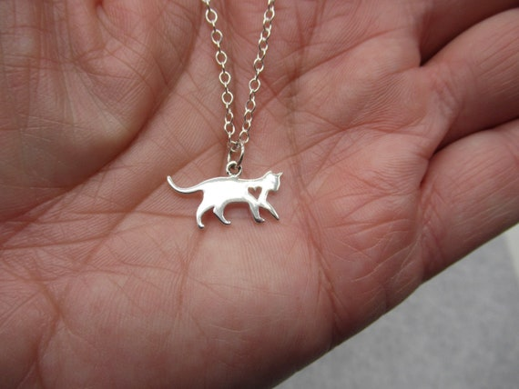 Halloween Pendant Gift for Girl Animal /& Pet Jewelry 925 Sterling Silver Scaredy Cat Necklace Your Choice 16 or 18 inch Chain