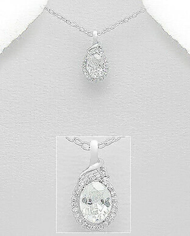 925 Sterling Silver April Birthstone Birthday Gift for Woman Wife Girlfriend Bridesmaids Her Simulated Diamond CZ Halo Twist Pendant