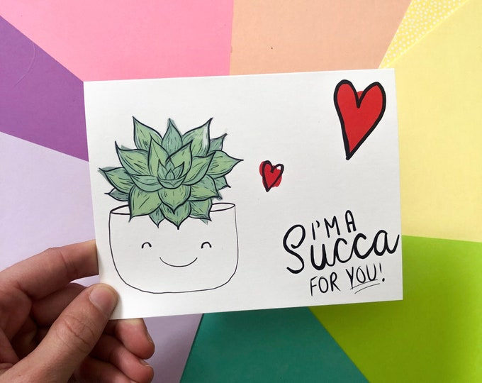 Valentines Day Succulent Greeting Card - cute cards, succulent gifts, plant gifts, house plants