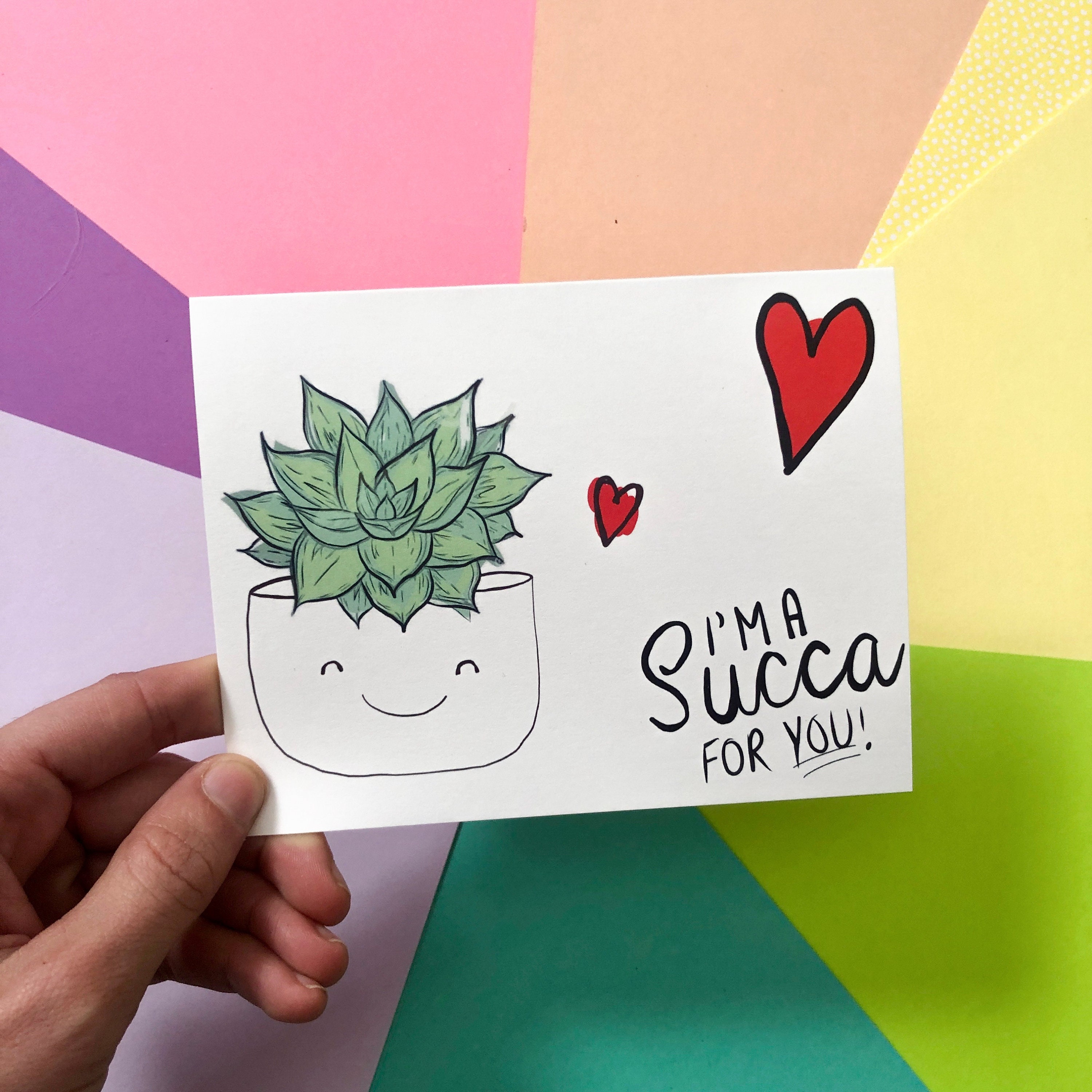 Valentines Day Succulent Greeting Card Cute Cards Succulent Gifts Plant Gifts House Plants