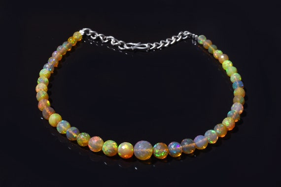5-8 MM Opal Beads Strand AAA+++ Top Natural Ethiopian Rainbow Fire Opal Faceted Round Beads Round Faceted Beads 16 Inches Strand