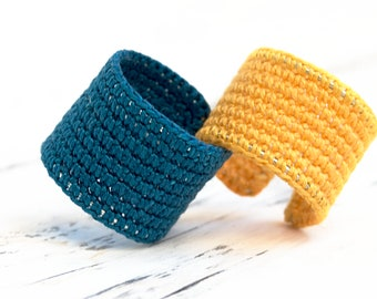 Adaptable crochet rig, Crochet ring, Wide ring, Friendship ring, Ring for couples, Crochet jewelry, Textile jewelry, Textile ring, Boho