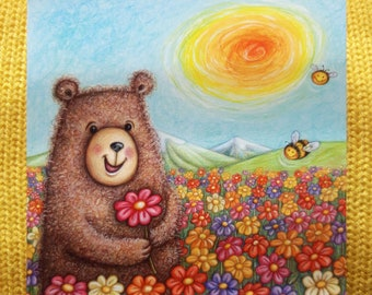 Curly Bear © Anthea Whitworth 2017.  Fine Art Card, blank inside, from original pencil drawing, featuring bear and flowers.