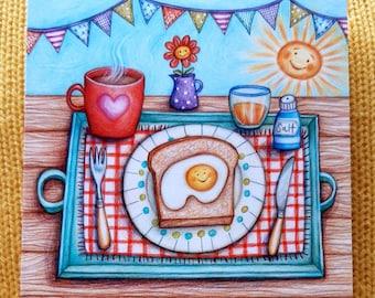 Sunny Side Up!  © Anthea Whitworth 2021.  Fine Art card 14cm x 14cm, blank inside.  Coloured pencil drawing, Egg on Toast. Sunshine.