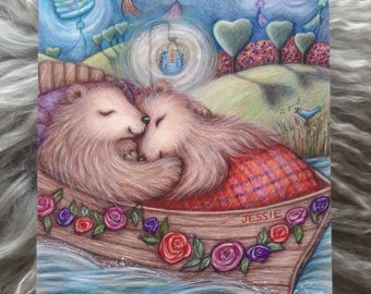Lovers Afloat © Anthea Whitworth 2021.  Fine Art Card from original coloured pencil drawing. Romantic card, bears, boat, lanterns.