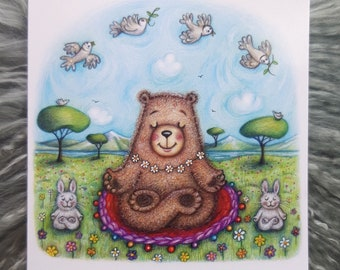 Springtime Yogic Bear © Anthea Whitworth 2020.  Fine Art Card from original coloured pencil drawing. 14cm square card, blank inside.