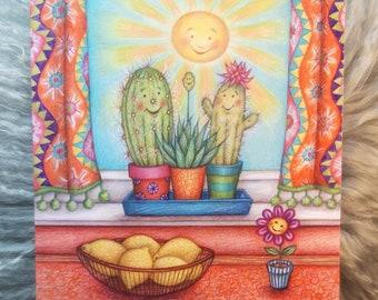 Sun Lovers © Anthea Whitworth 2021.  Fine Art Card from original coloured pencil illustration.  Cactus, sunshine, colourful.  Blank inside.