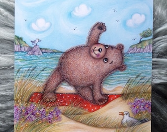 Summertime Yogic Bear © Anthea Whitworth 2020. Fine Art Card from original coloured pencil drawing. 14cm square card, blank inside.