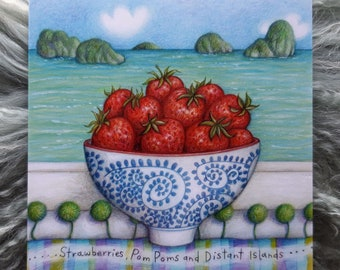 Strawberries, Pom-Poms and Distant Islands  © Anthea Whitworth 2018.  Fine Art card, blank inside, from original pencil drawing.