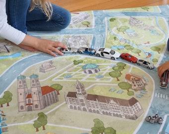 Spielteppich MÜNCHEN! Samtweicher Straßenteppich - Autoteppich - Pay Rug - waschbarer Kinderteppich von HappyCityKids - in 2 Größen