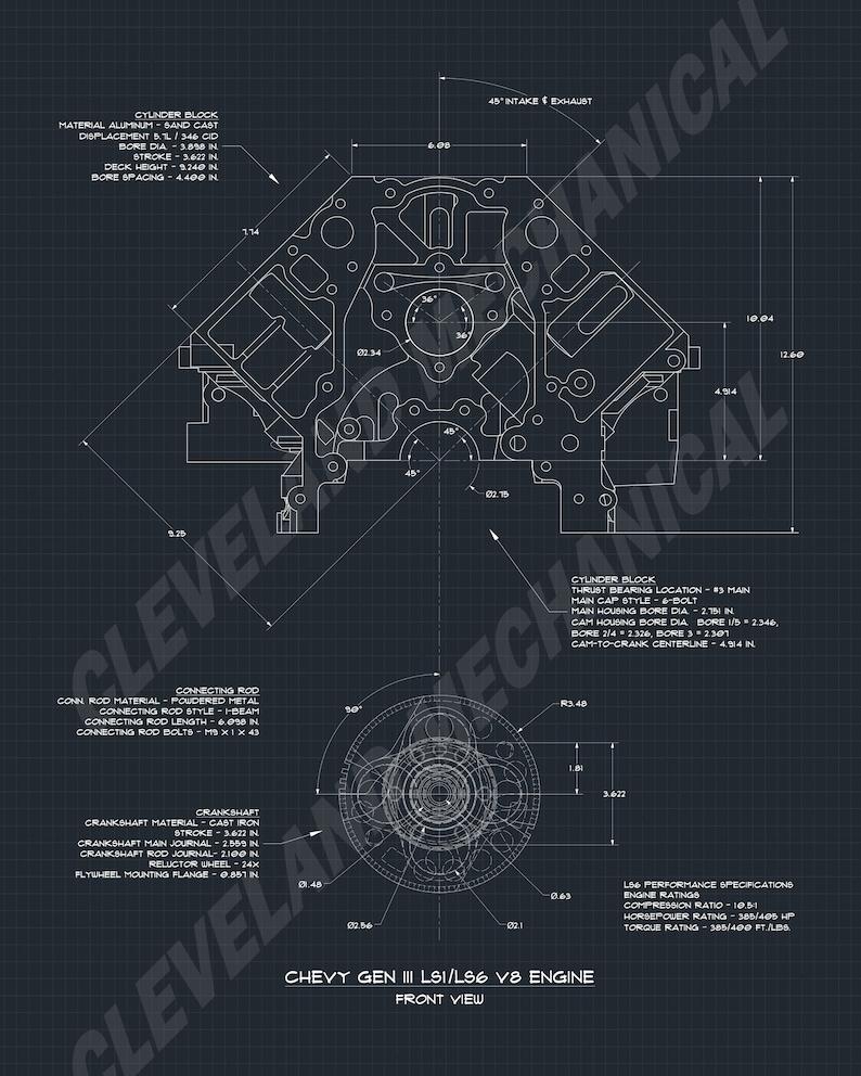 Chevy Gen 3 Ls1 Ls6 Engine Block Blueprint Art Collection Etsy