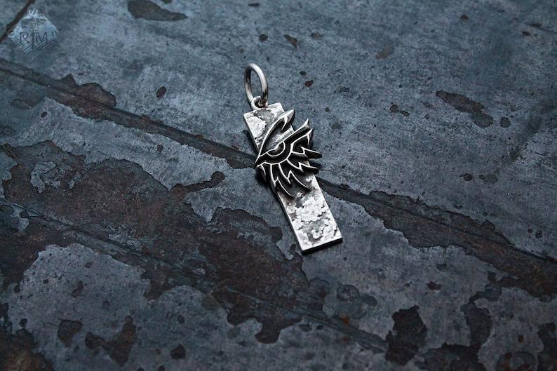 Dark Eldar sterling silver necklace pendant Kabal Baleful Gaze gamer gift cosplay 40 handmade geek nerd fantasy larp warp chaos god Egypt Ra