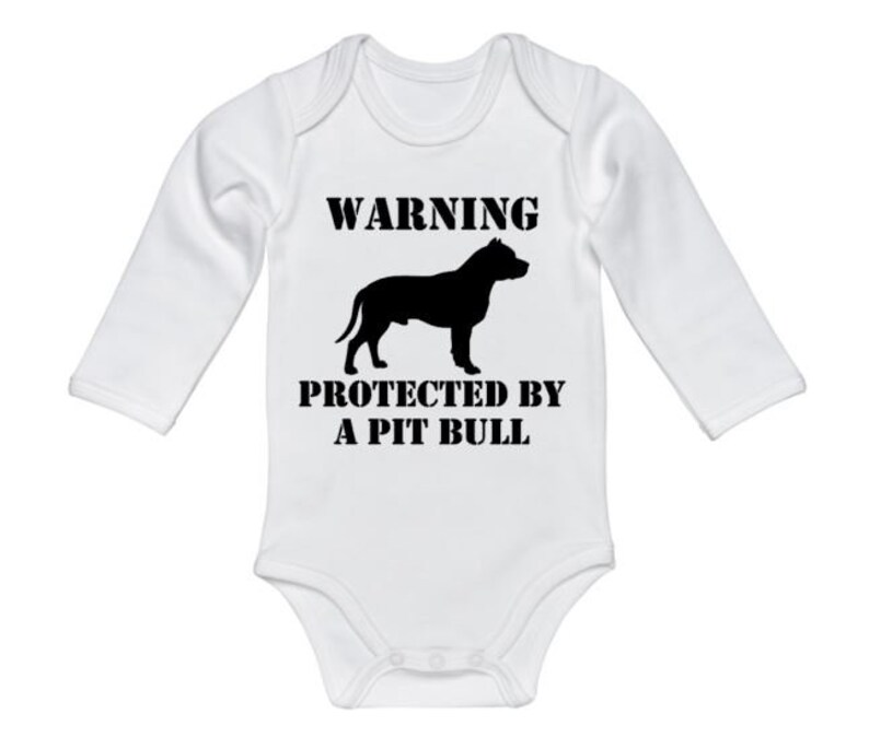 Warning Protected By A Pit Bull Pit Bull Apparel Pit Bull Onesie Newborn Pit Bull Onesie Baby Pit Bull Bodysuit Infant Pit Bull Outfit