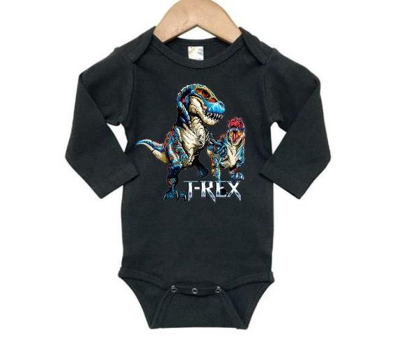 Baby Girl Long Sleeve Jumpsuit T-Rex Dinosaur Playing Field Hockey Infant Long Sleeve Romper Jumpsuit