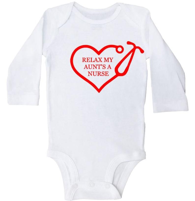 Aunt Outfit For Babies Nursing Newborn Onesie Relax My Aunt/'s A Nurse Funny Infant Bodysuit Aunt Nurse Baby Outfit Aunt Baby Onesie