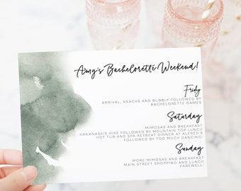 Bachelorette itinerary template etsy printable bachelorette itinerary template weekend itinerary sage green watercolor bridal shower itinerary template bachelorette template maxwellsz