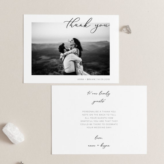 Photo Wedding Thank You Cards Wedding Thank You Notes Template Add Own Photo Thank You Card Printable Thank You Card Modern Thank You