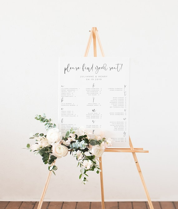 Alphabetical Seating Chart Template Wedding Guests Seating