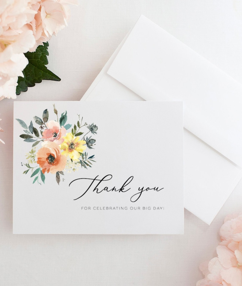 Wedding Thank You Cards Template Printable Thank You Card Floral Thank You Cards Wedding Thank You Tag Wedding Thank You Note Lcp01