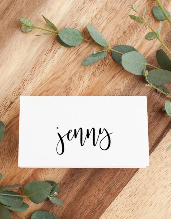 Handwritten Calligraphy Flat Wedding Place Cards Flat Wedding Name Cards Matte Ribbon Tied