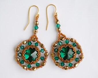5f7563fc47aaea Kolczyki Szmaragdowe Swarovski Srebro Pozłacane Kryształowe Zielone  Biżuteria artystyczna wieczorowa Jewelry Angel Bright Glamur Wesele