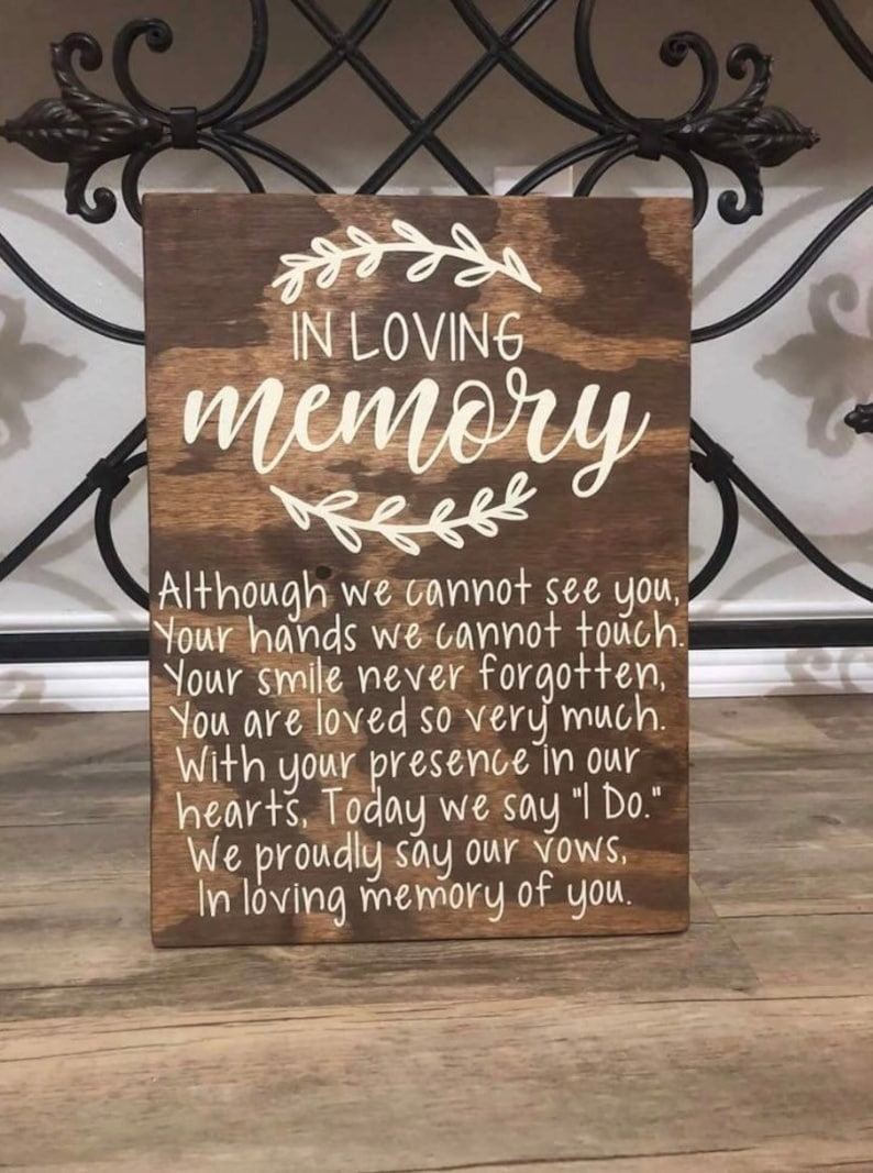 In Loving Memory Wedding Sign  Memorial Table Wedding Sign  image 0