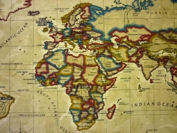 Stoff Mit Landkarte Landkartenstoff Kartenstoff Na Etsy