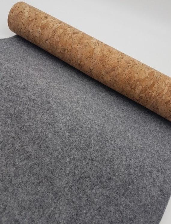 Kork mit Wollfilz grau 903 Kork mit Filz echter Kork mit grauem Filz Tweed grau