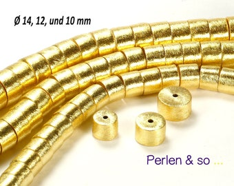 10 Edelstahl Rund Spacer Perlen Beads Kugeln zum Basteln Glatt Vergoldet 5mm