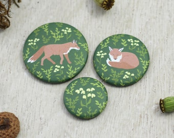 """Magnetset """"Fuchs"""", dunkelgrün, 3x Kühlschrankmagnet mit Fuchsmotiven und Pflanzen"""